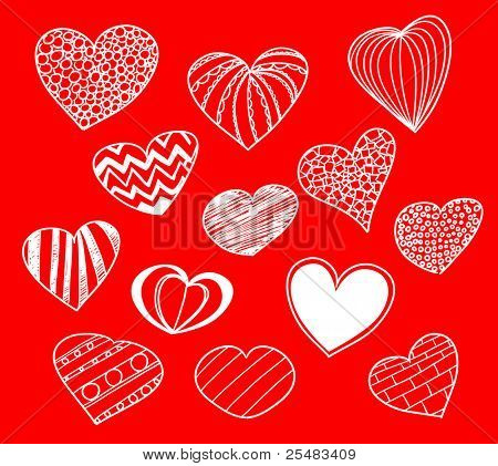 Hand-drawn heart collection on red background
