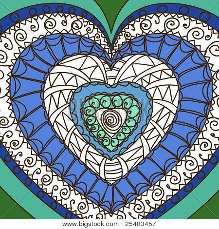 Adorno de corazones. Gamma azul