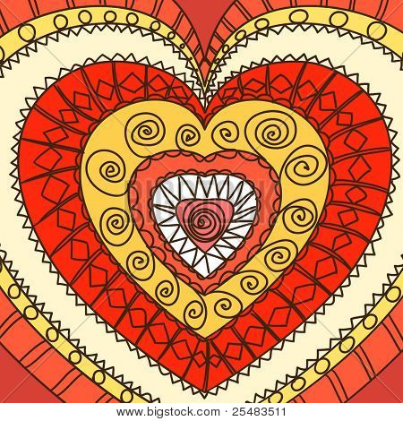 Adorno de corazones. Gamma caliente