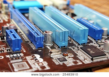 Closeup of computer motherboard