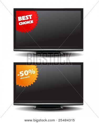 Tv de pantalla ancha con pegatinas de descuento
