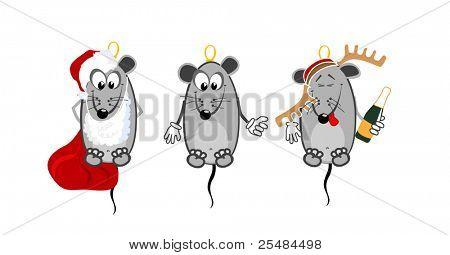 Three mice. NY toys on christmas tree