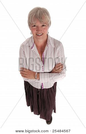 Smiling Senior Business Woman With Arms Folded