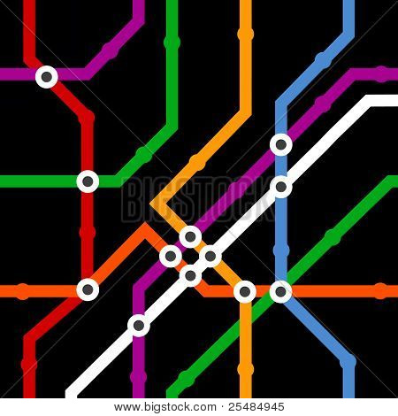 Abstract color metro scheme seamless background on black