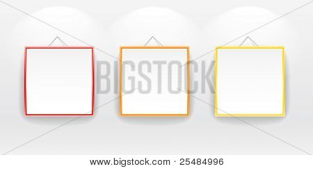 Blank boards with color frames on wall. You can place your message on it