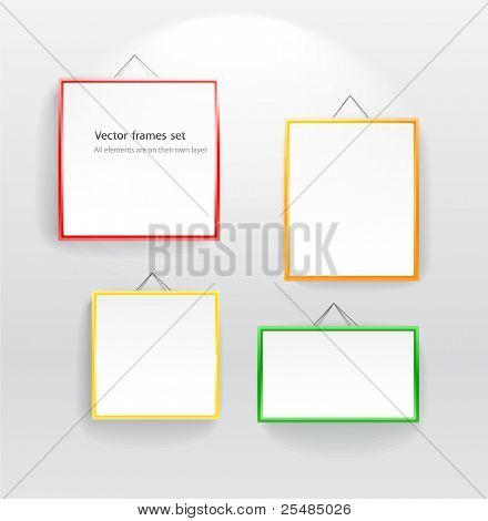 Blank color boards different sizes on wall. You can place your message on them