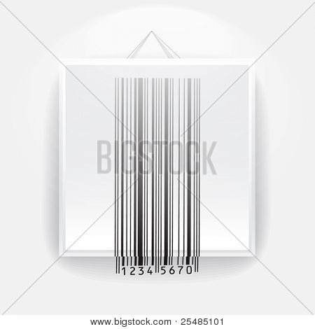 Blank frame on the wall with barcode sign. ready for your text