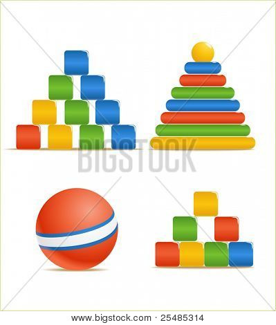 Wood color toys. Pyramid, ball, cubes.