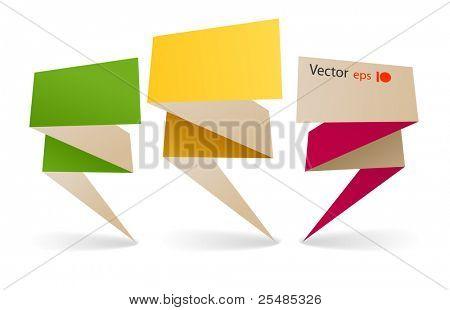 gebeugt bunte polygonalen Origami Banner. Legen Sie Ihren Text hier