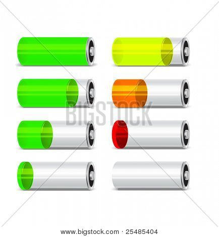 Batteries with different level of charge.