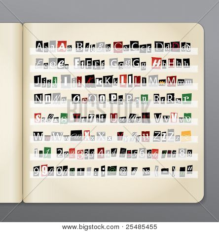 Set of vector letters from newspaper and magazines collected in the book