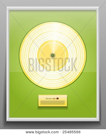 Golden CD prize with label in frame on wall