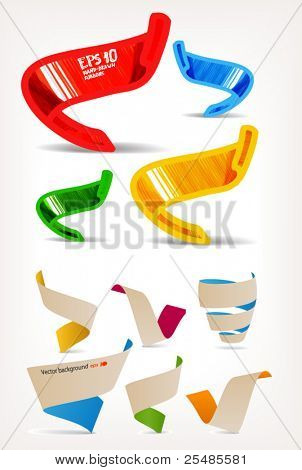 Mega set of colorful origami and handmade ribbons. Place your text here