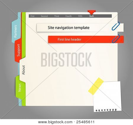 Websitevorlage. Papier-Stil