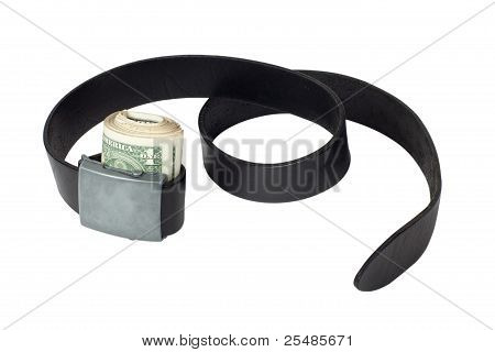 Roll Of Money Tightened By Leather Belt