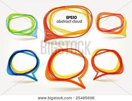 Abstract hand-drawn talking bubbles set