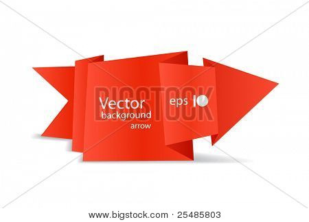 Red polygonal origami arrow banner. Place your text here