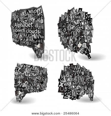 Black Vector talk bubbles of letters from newspaper and magazines in perspective