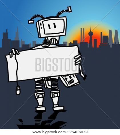 Robot holding a blank information board in a modern city