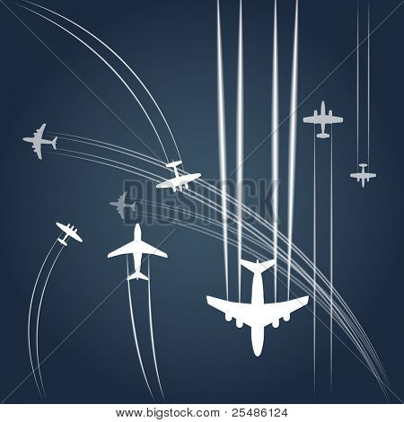 Transport and civil airplanes` paths