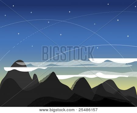 Evening landscape with mountans and stars