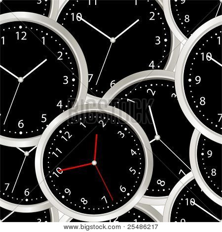 Black steel modern clock. seamless background