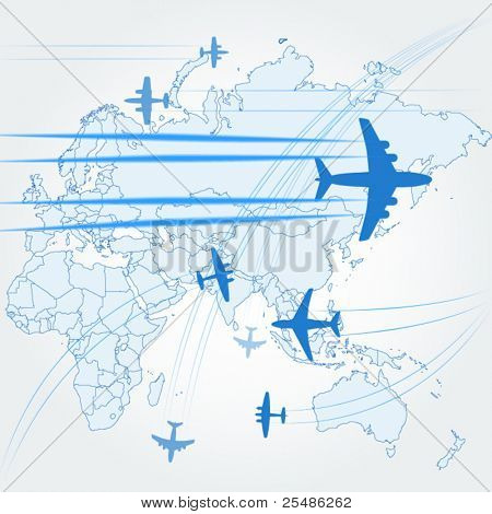 Transport and civil airplanes paths over the map of the world