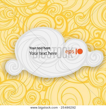 Speech cloud on yellow background of curled abstract clouds. Ready for your text