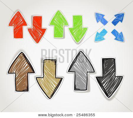 Handgezeichnete Pfeil Symbole Sammlung