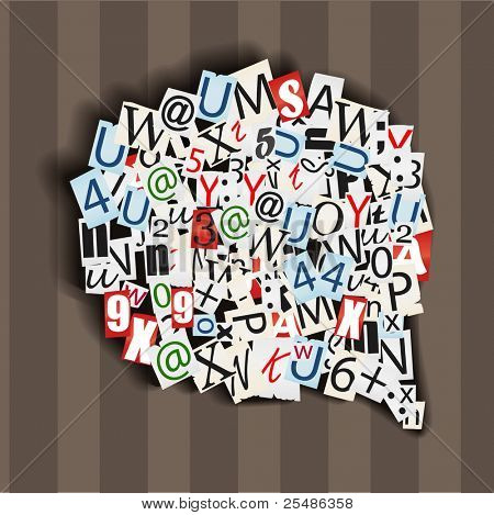 Vector talk bubble of letters from newspaper and magazines on brown