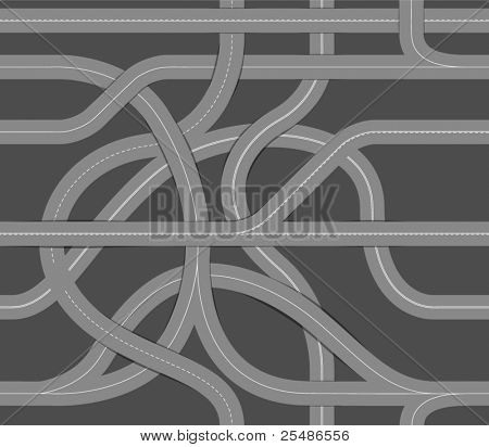 Seamless background of winding roads