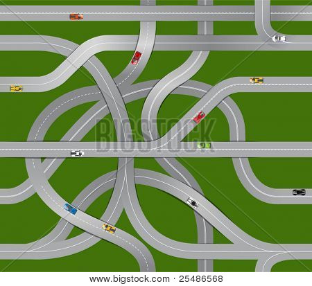 Seamless background of winding roads and moving cars
