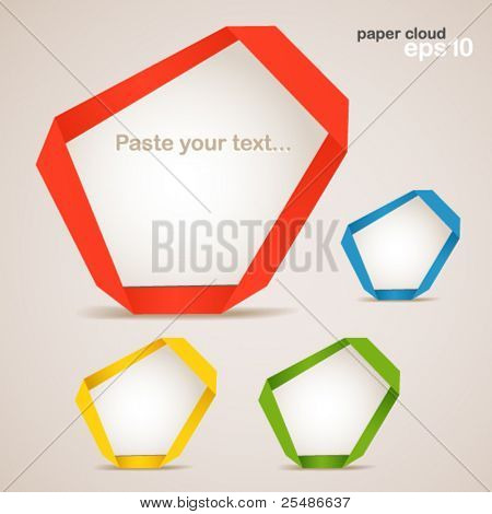Colorful polygonal origami clouds. Place your text here