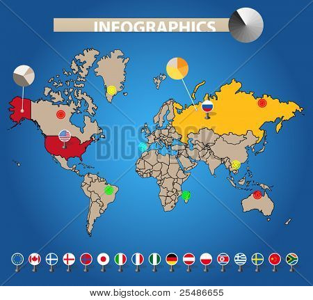 Infographics. Color earth map with flags of different countries, on blue
