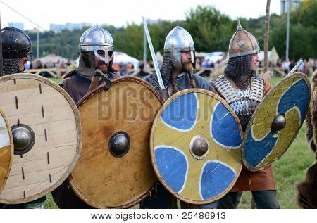 "MOSCOW - SEPTEMBER 4: The ancient warriors with shields. The international festival of fights ""Times and epoch"". With over 130000 spectators on September 4, 2011 in Moscow, Russia."