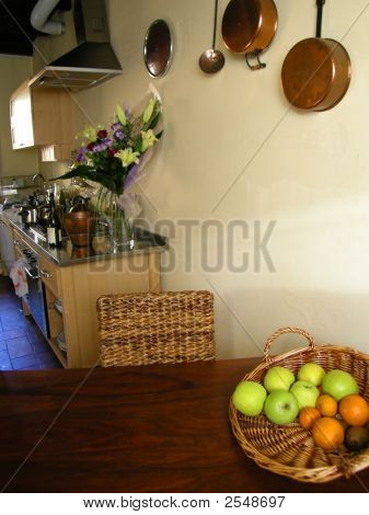 Kitchen With  Fruit And Flowers