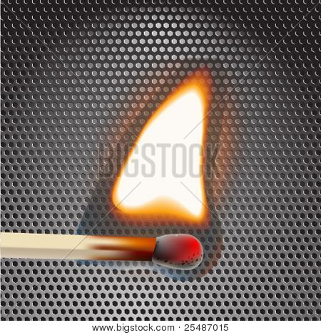Flaming match on metal background