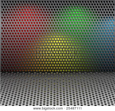 Metal grill net background with colorful backlights