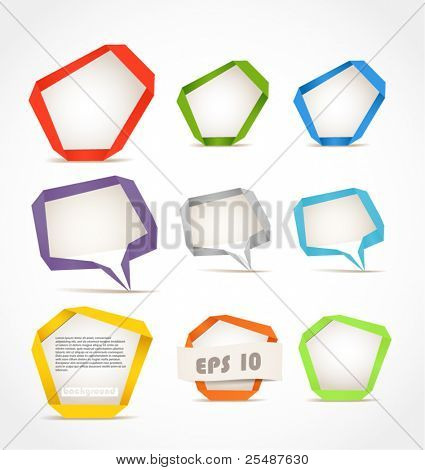 Colorful polygonal origami speech clouds. Place your text here