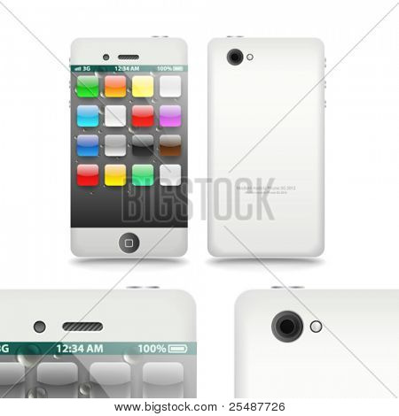 Modern touchphone gadget vector illustration template