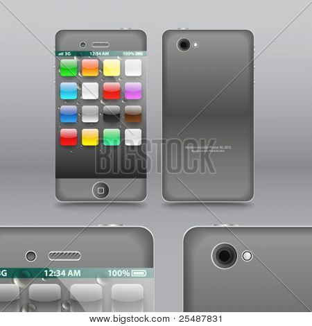 Smoke grey modern touchphone gadget vector illustration