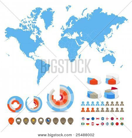 Infographics. World map, flags of different countries and diagrams and icons