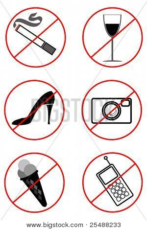 prohibiting signs (Black-and-white). Vector illustration