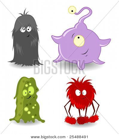 Four Little monsters. Vector illustration