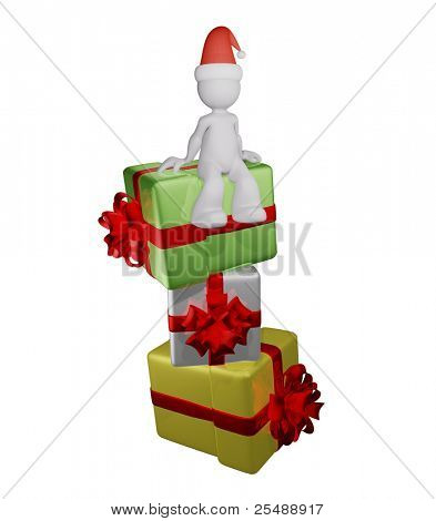 Person in christmas hat with heap of gifts. 3D illustration