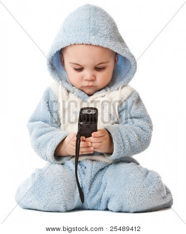 Lovely little boy with phone. Isolated on white