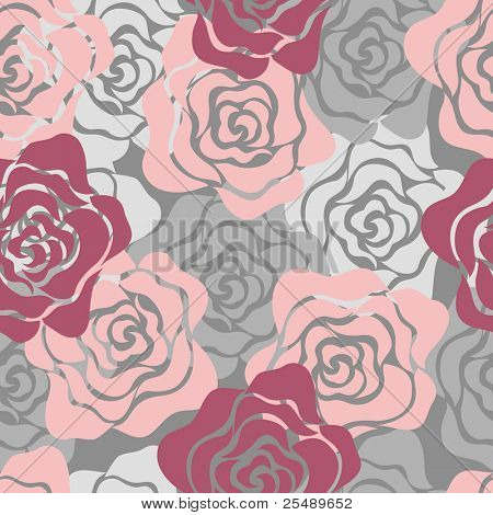 Roses Seamless Pattern. Vector illustration