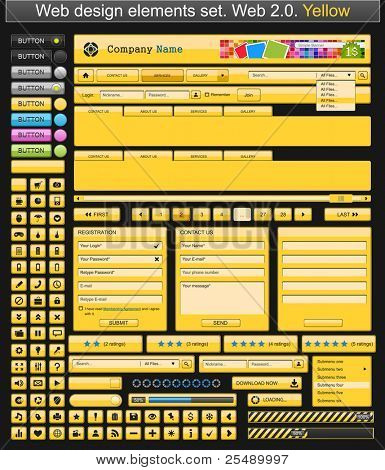 Web design elements yellow. Vector illustration
