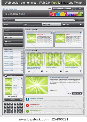 Web design elements set 1. Black and white. Vector illustration