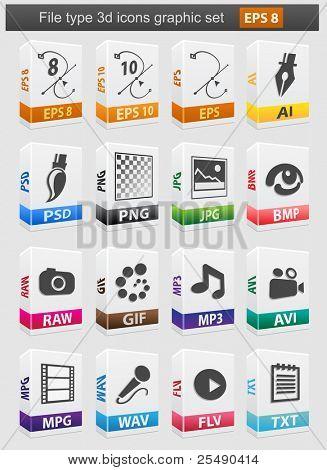 Conjunto de iconos 3d de archivos tipo. Ilustración de Vector